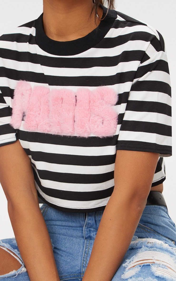 Monochrome Faux Fur Paris Slogan Stripe Crop Top 5