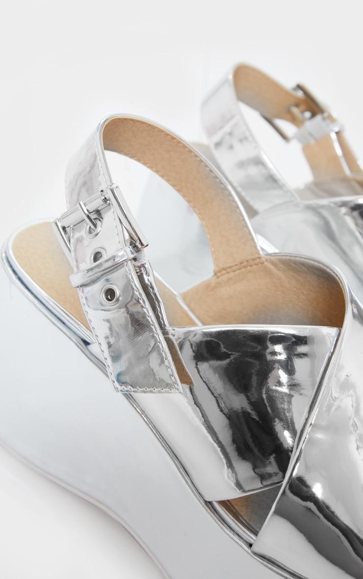 Silver Mirror Look Wedged Sandals 4