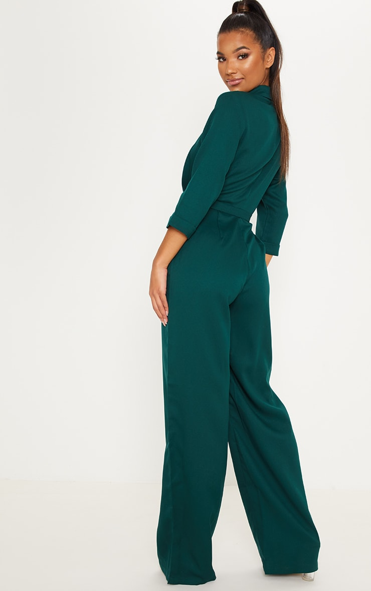 Emerald Green Woven Plunge Wide Leg Jumpsuit 2