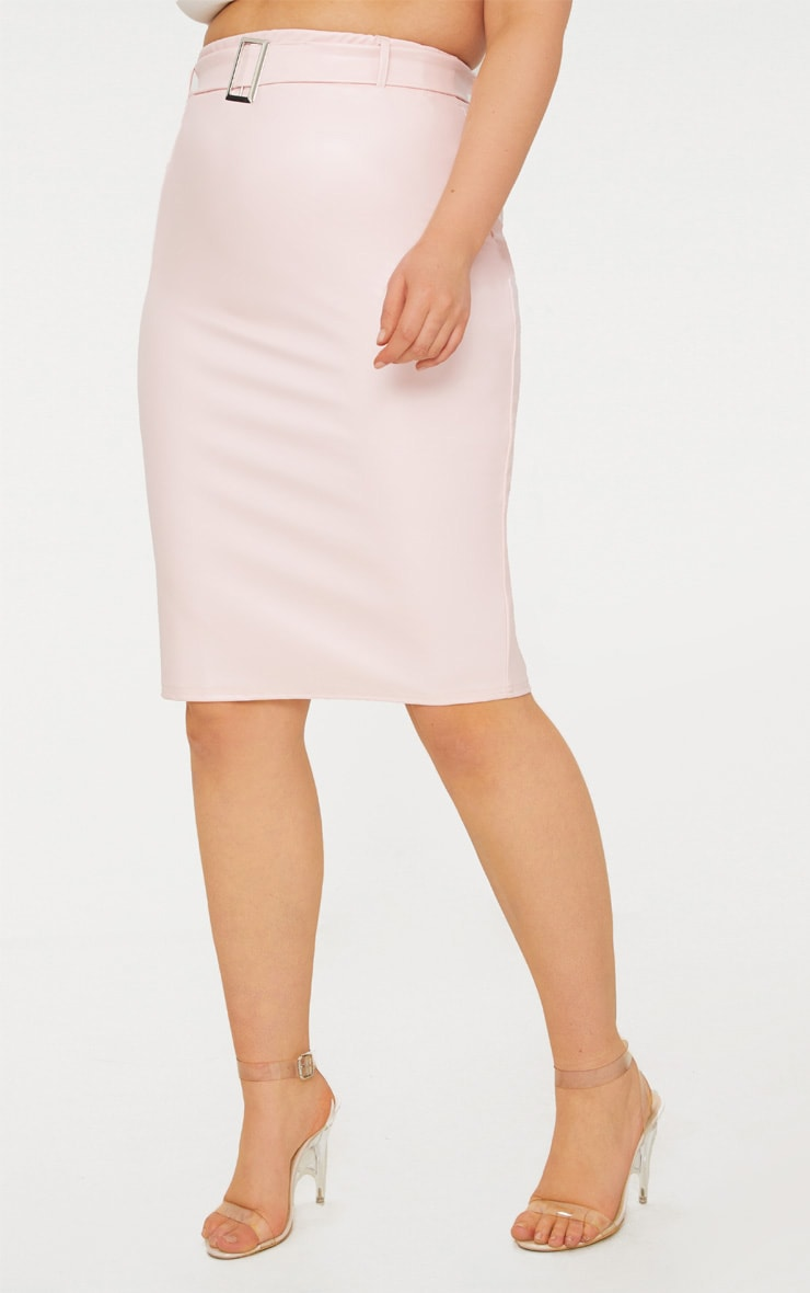 Plus Nude Belt Detail PU Midi Skirt 2