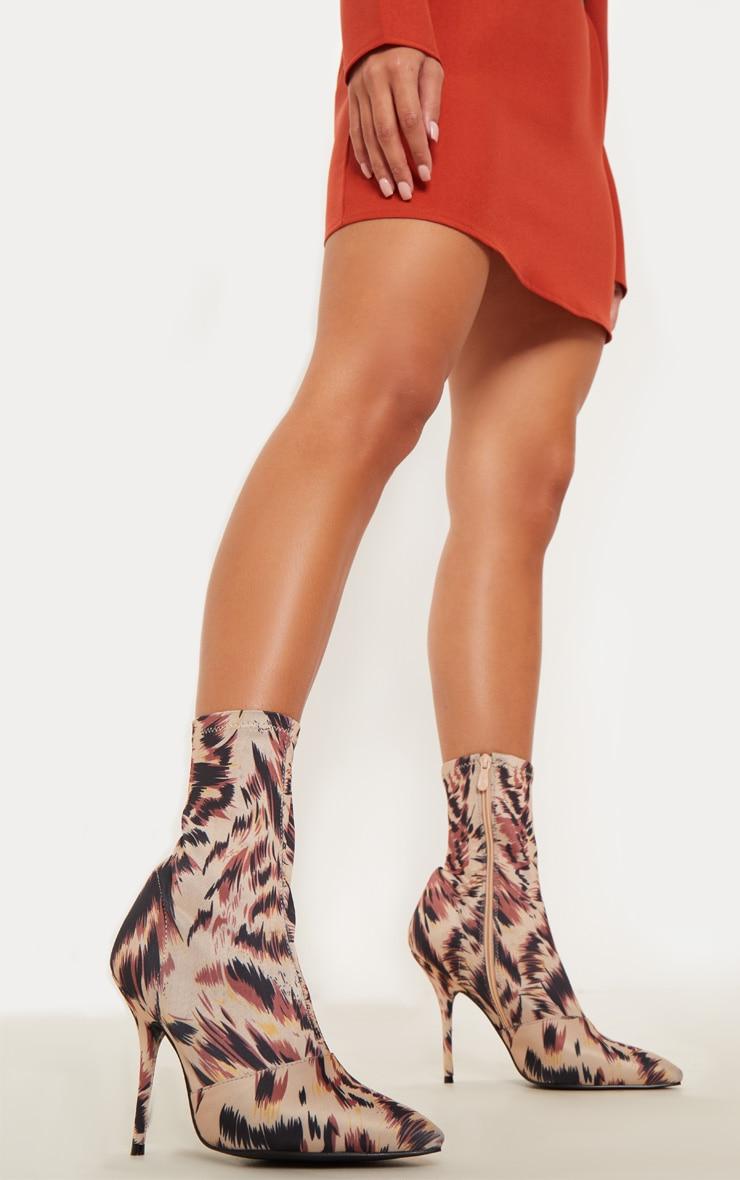 Leopard Print Neoprene Heeled Sock Boot  1