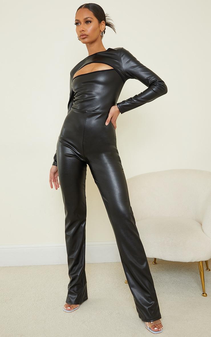 Black PU Cut Out Long Sleeve Jumpsuit 1