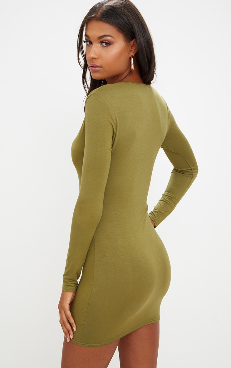 Olive Green Jersey  Extreme Plunge Long Sleeve Bodycon Dress 2