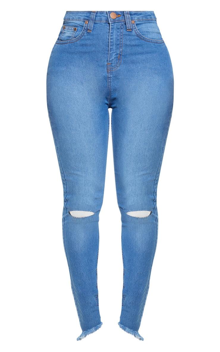 Shape Mid Wash Knee Rip High Waisted Skinny Jeans 3