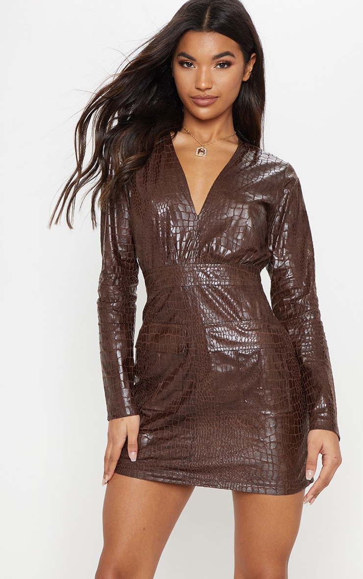 ba820c0a3d86 chocolate-brown-faux-leather-snake-embossed-shift-dress by