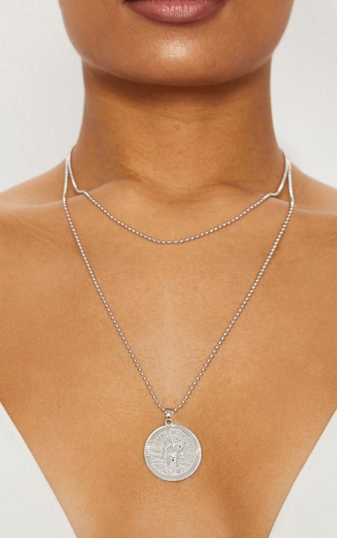 Silver Saint Coin Renaissance Necklace 1