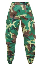 Petite Green Camo Print Cargo Trousers image 4
