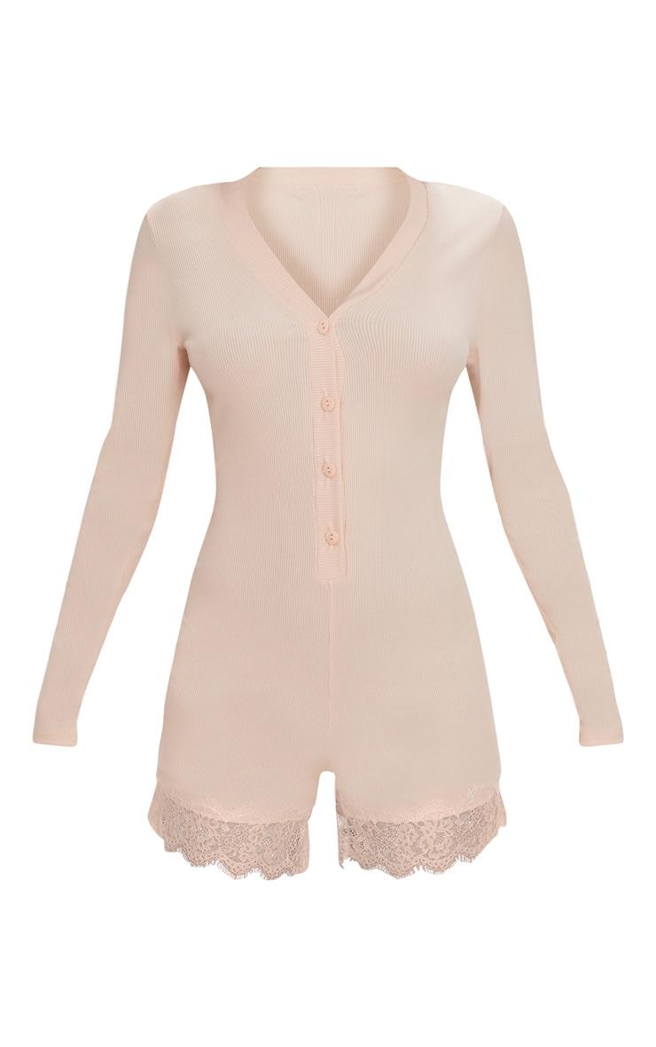 Pale Pink Ribbed Lace Trim PJ Romper 3