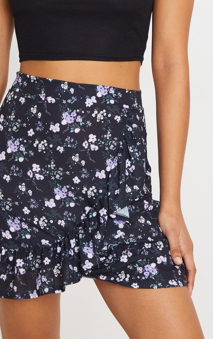 Black Ditsy Floral Frill Hem Wrap Mini Skirt 6