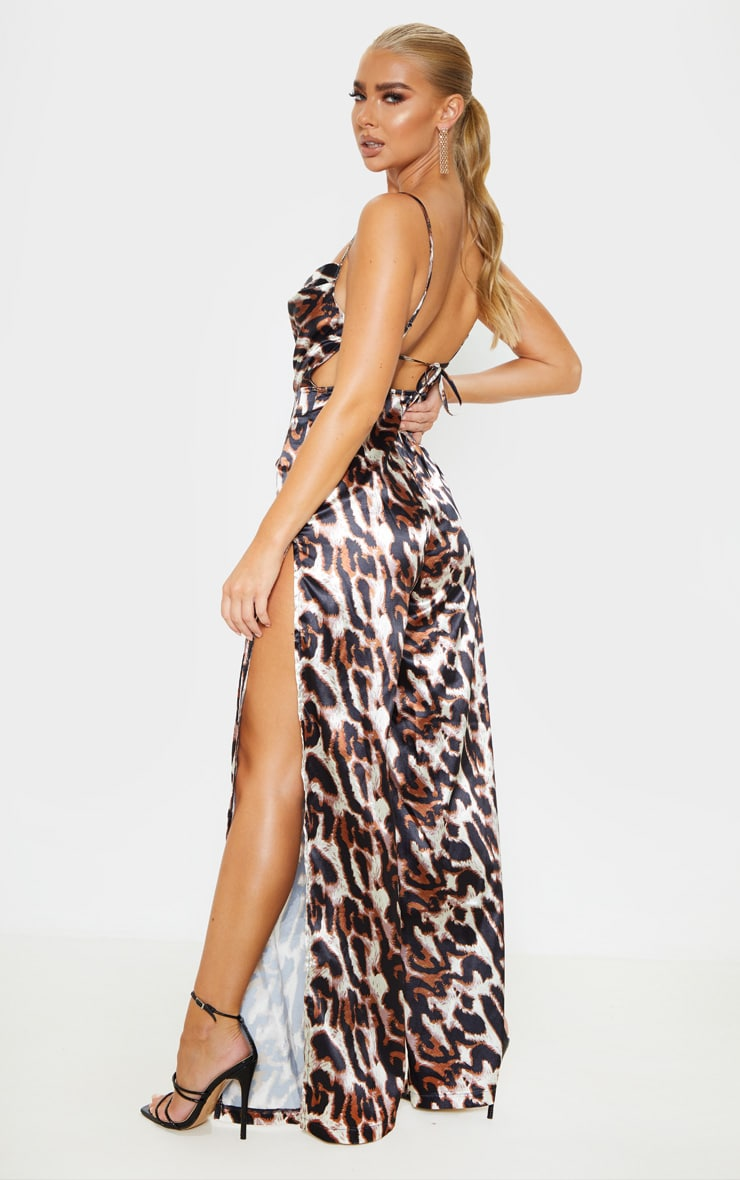 Tan Leopard Satin Cowl Neck Extreme Split Jumpsuit 2