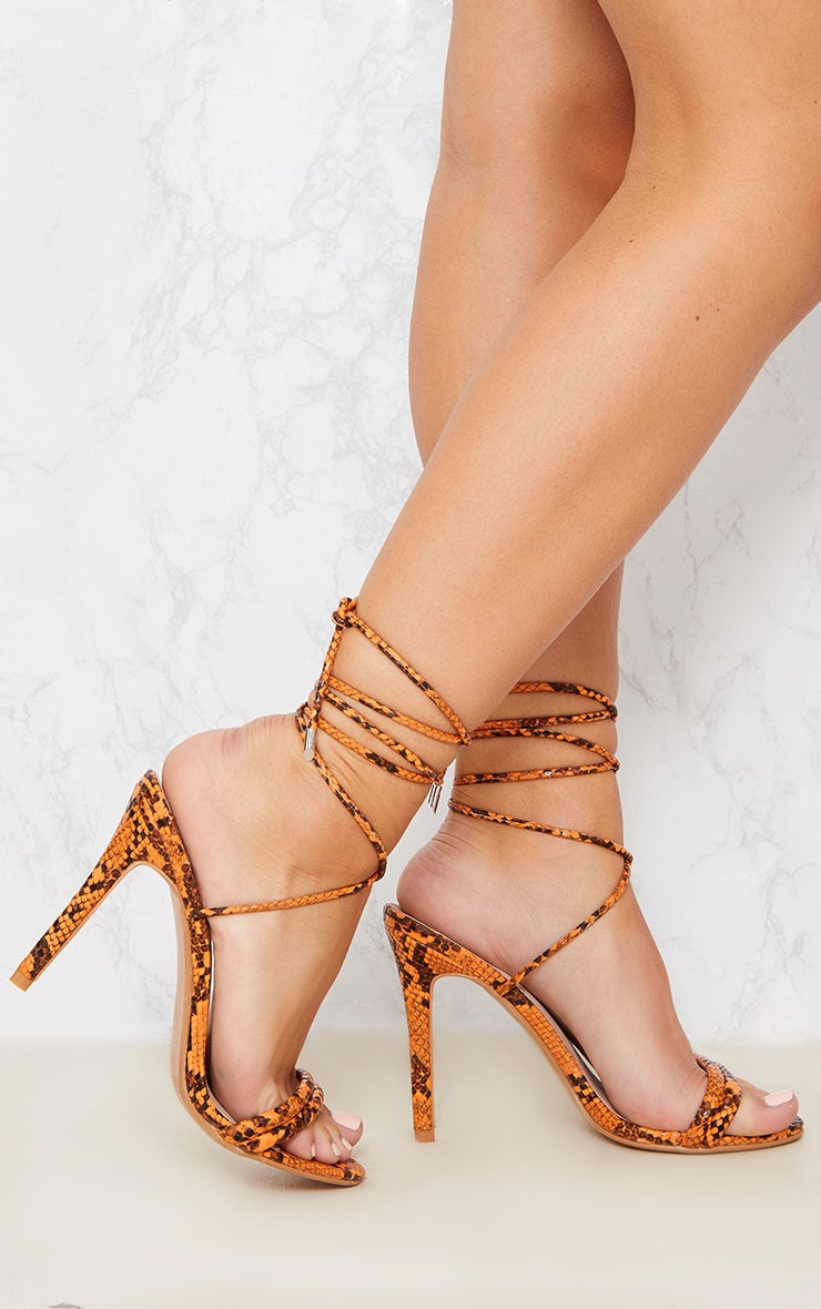 Orange Snake Strappy Leg Tie Heeled Sandal