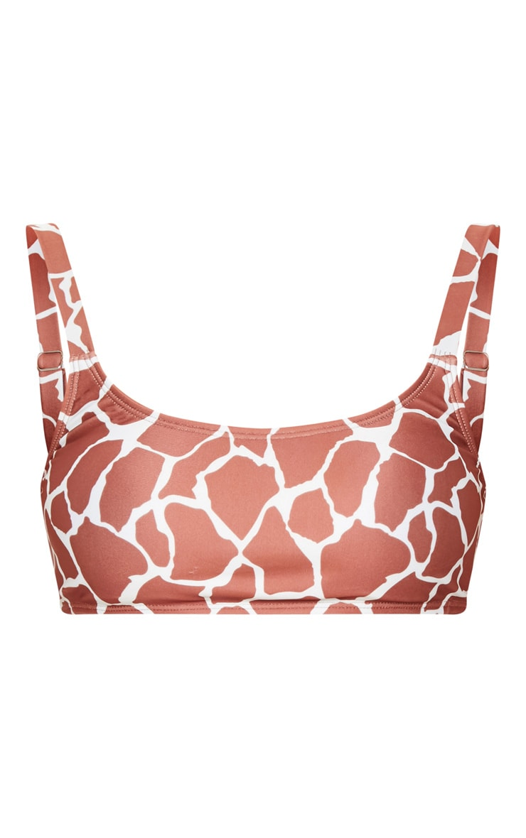 Brown Giraffe Print Padded Scoop Neck Bikini Top 3