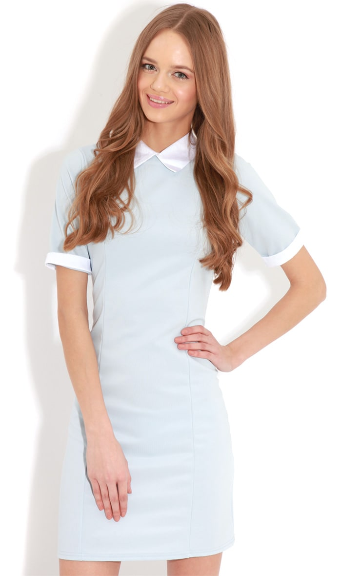 Eileen Baby Blue Collar Dress 3