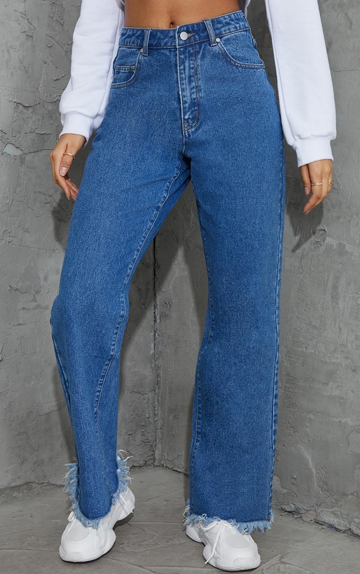 Mid Blue Wash Denim Frayed Hem Wide Leg Jeans 2
