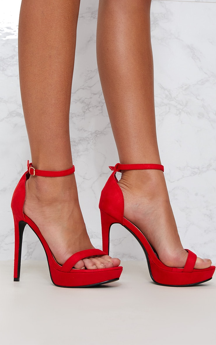 Red Platform Strap Heeled Sandal 1