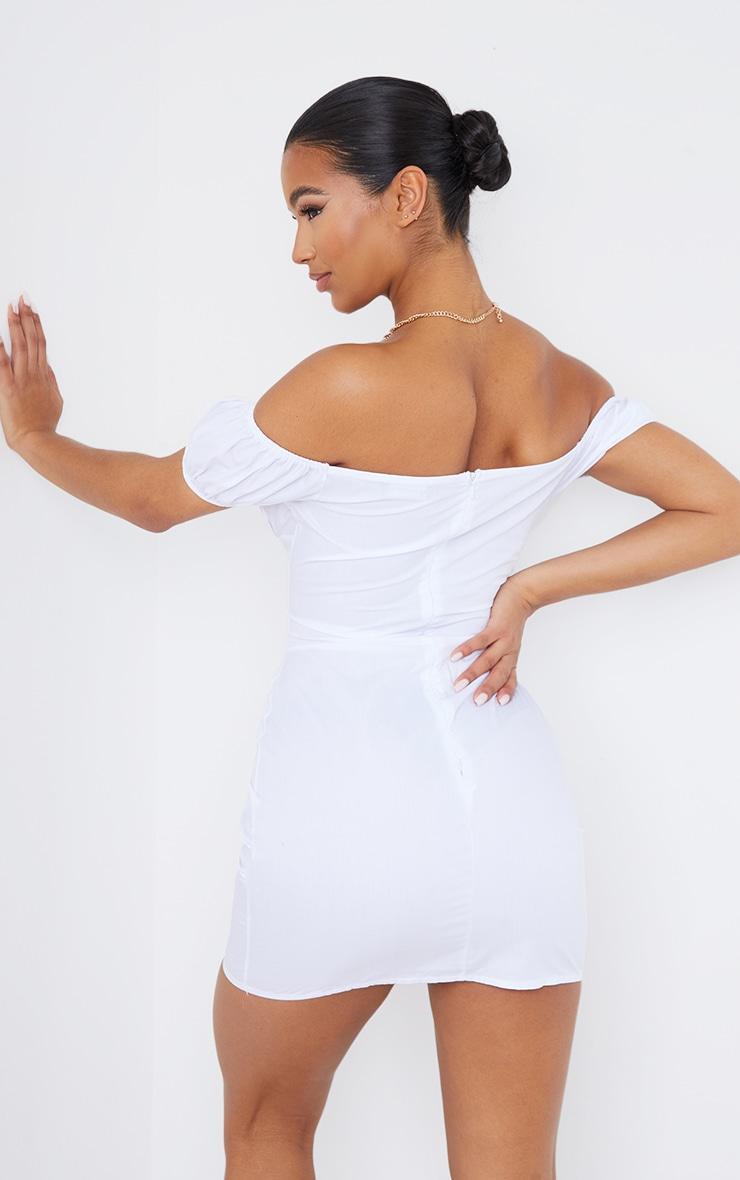 White Woven Bardot Lace Up Detail Bodycon Dress 2