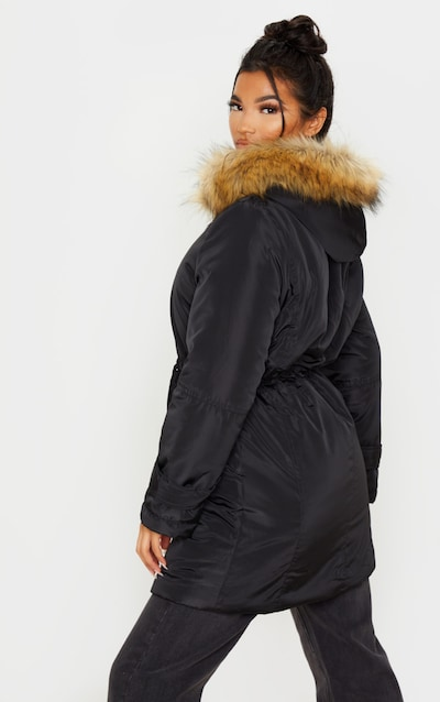 Black Faux Fur Trim Hood Parker Coat