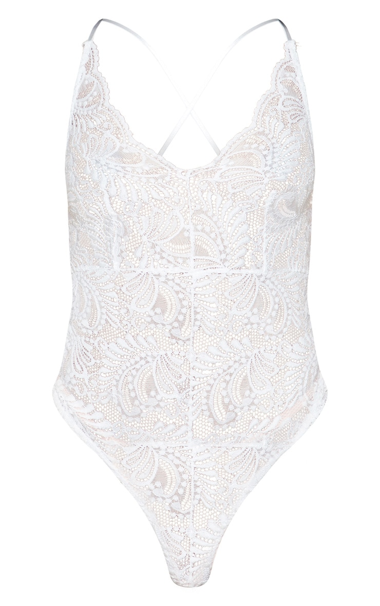 Lucille White Sheer Lace Cross Back Bodysuit 3