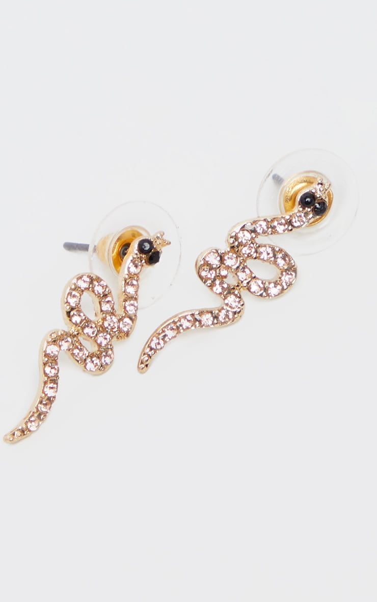 Gold Diamante Snake Stud Earring 2