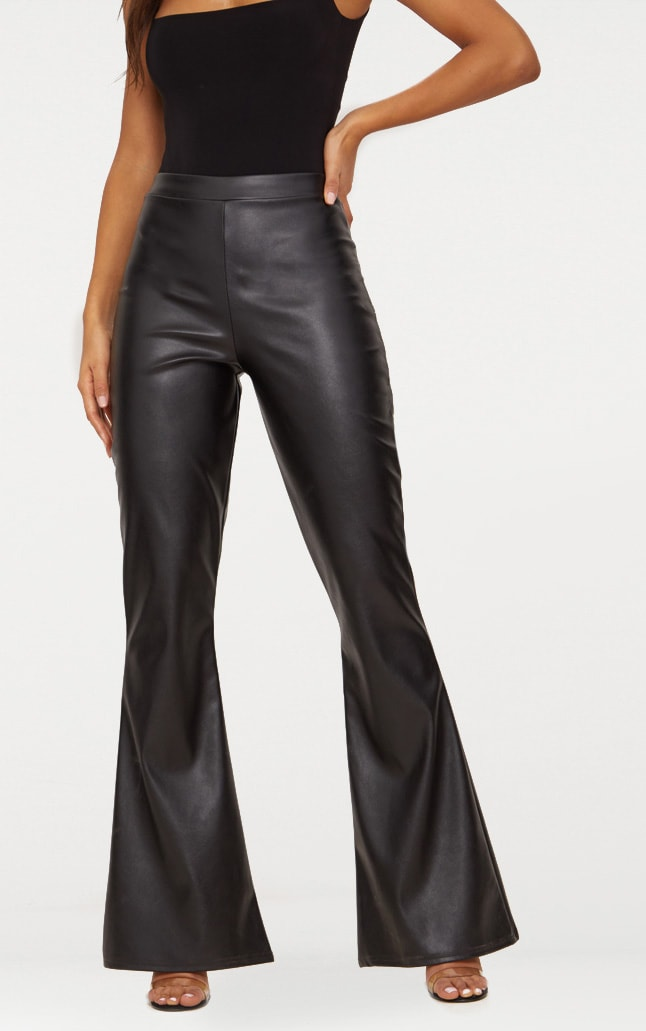 Black Faux Leather Flared Trousers 3