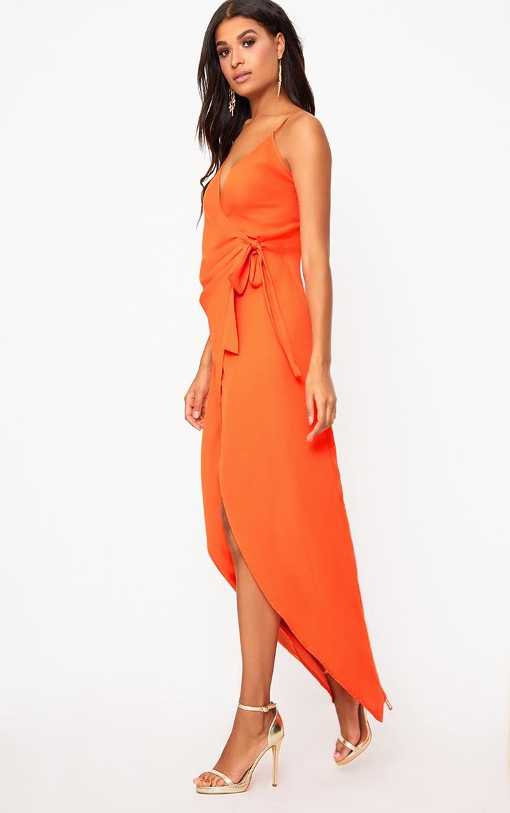 Orange Strappy Wrap Over Maxi Dress  4