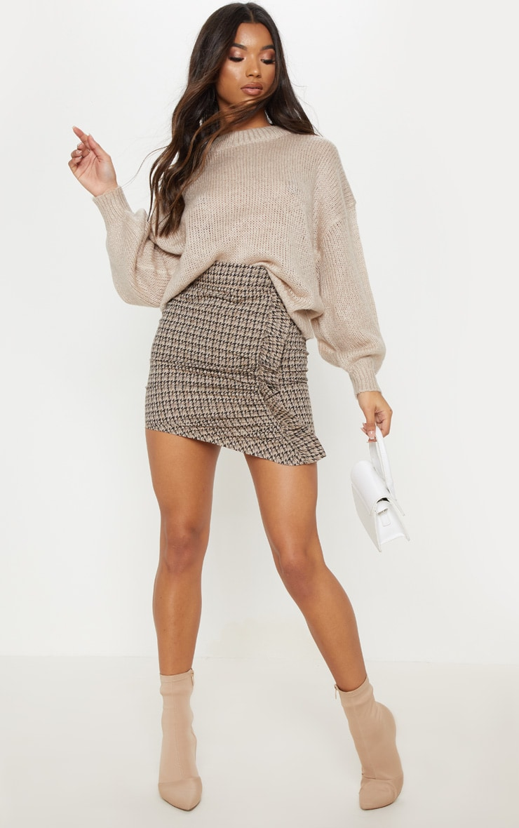Black Dogtooth Check Ruched Detail Mini Skirt  5