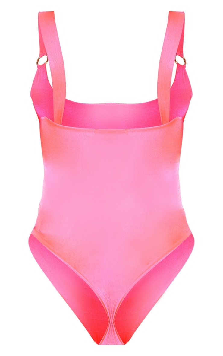 Neon Pink Slinky Scoop Neck O-Ring Bodysuit  4