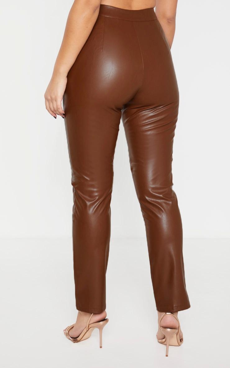 Pantalon cigarette taille haute marron en similicuir  4