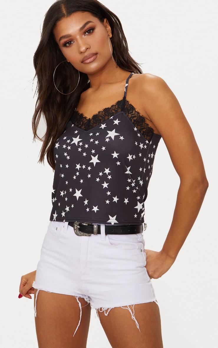 Black Star Print Lace Trim Cami Top  1