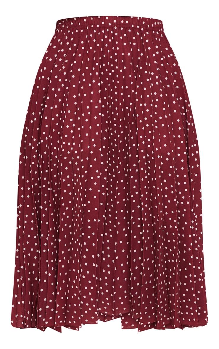 Petite Burgundy Polka Dot Pleated Midi Skirt 3