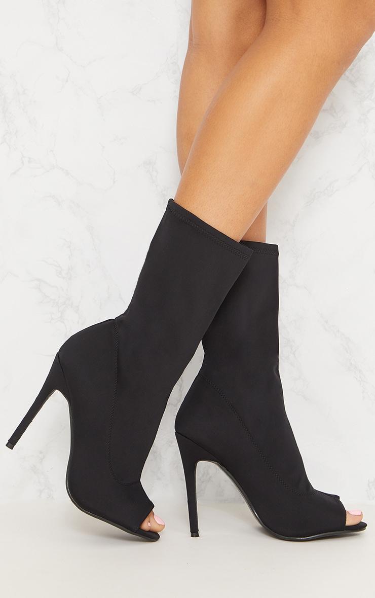 Black Lycra Peeptoe Sock Boot 2