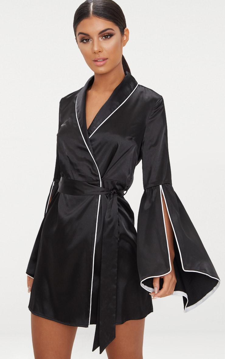 Black Satin Flare Sleeve Binding Detail Blazer Dress 1