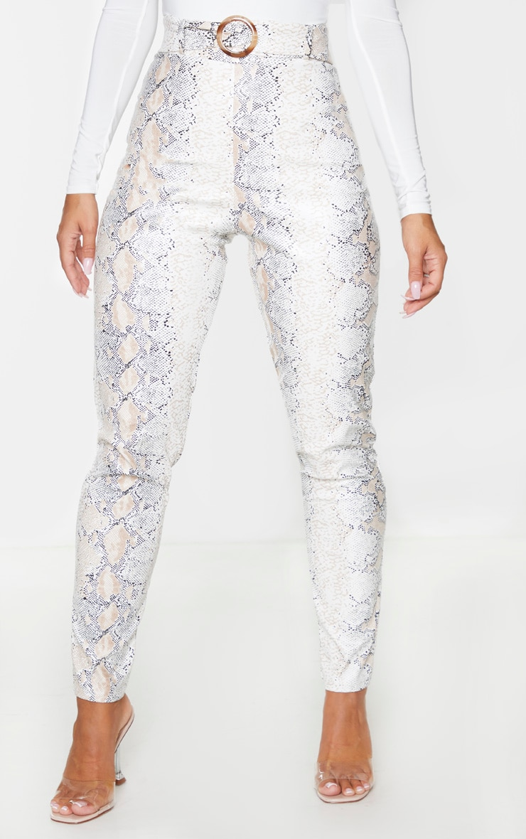 White Snake Faux Leather Belt Detail Pants 2