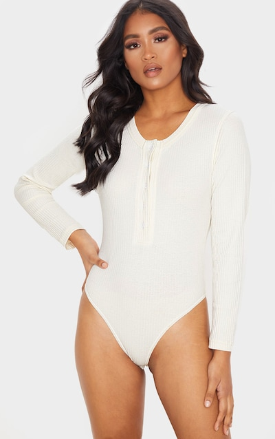 Cream Knitted Rib Button Front Bodysuit