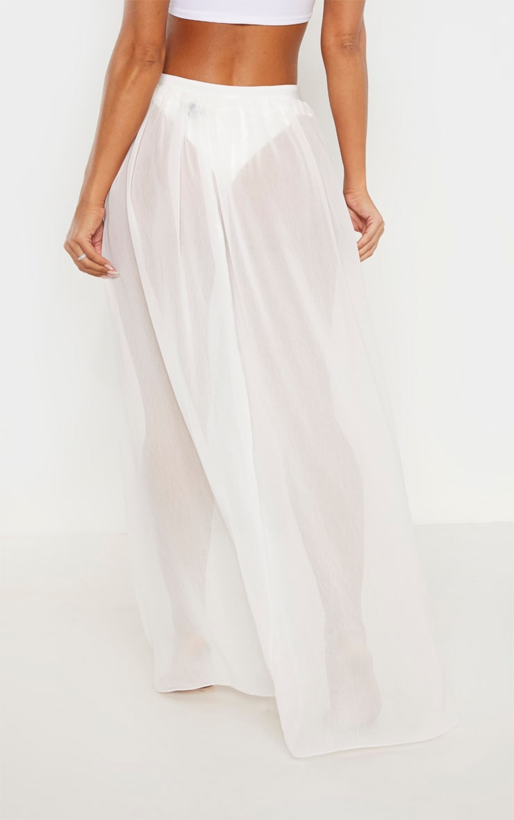White Adjustable Maxi Beach Skirt 5