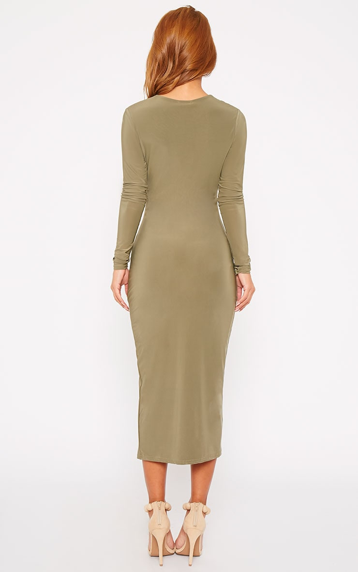 Christa Khaki Slinky Plunge Split Front Midi Dress 3