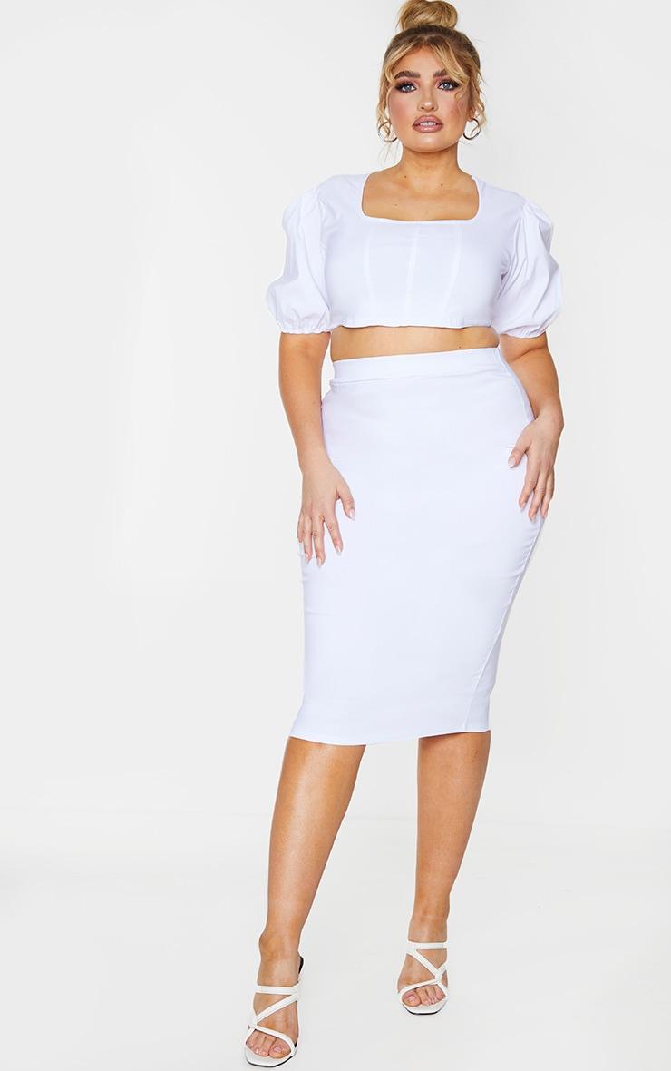 Plus White Stretch Seam Detail Midi Skirt 1