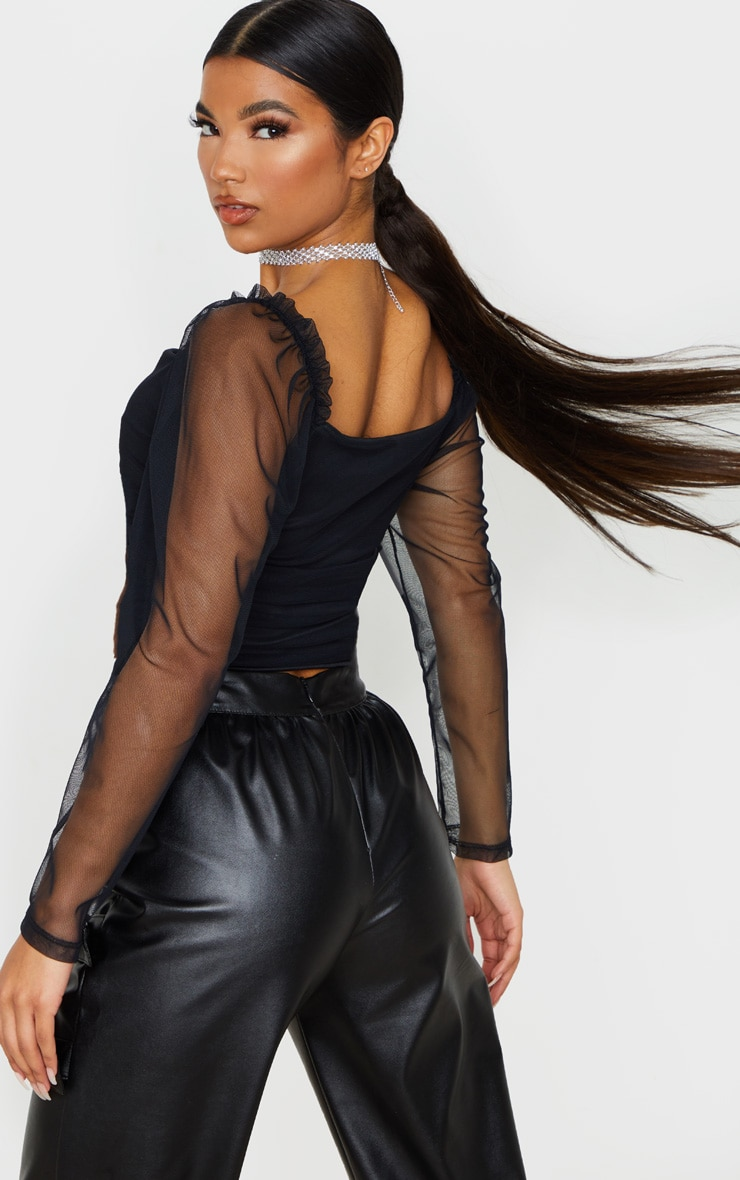 Black Mesh Ruched Side Seam Long Sleeve Crop Top 2