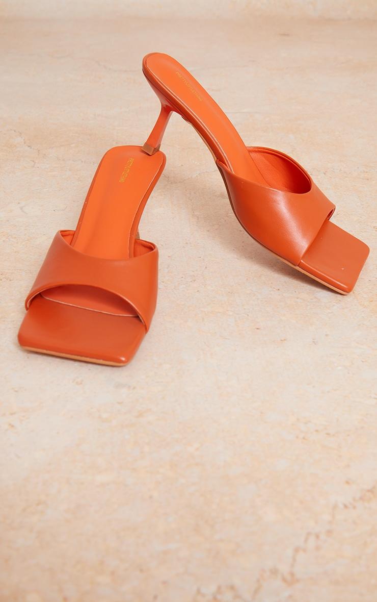 Orange Square Toe Low Heeled Mules 4