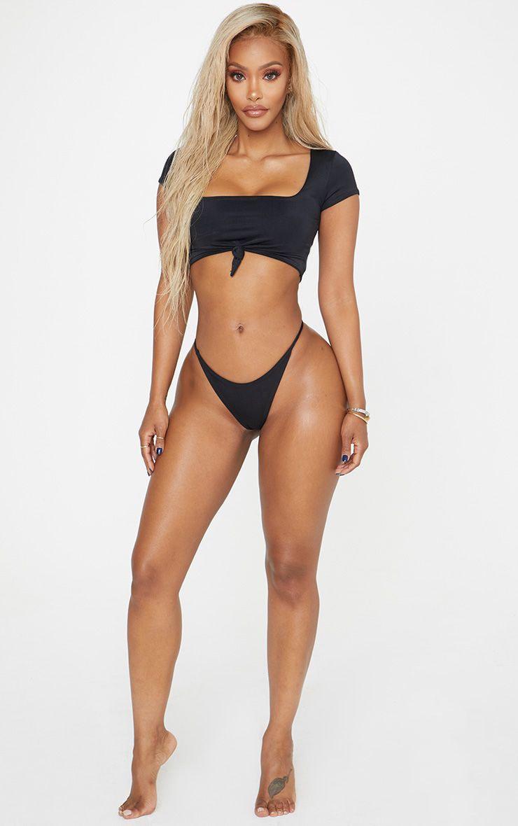 Shape Black Tie Detail Scoop Neck Bikini Top 1