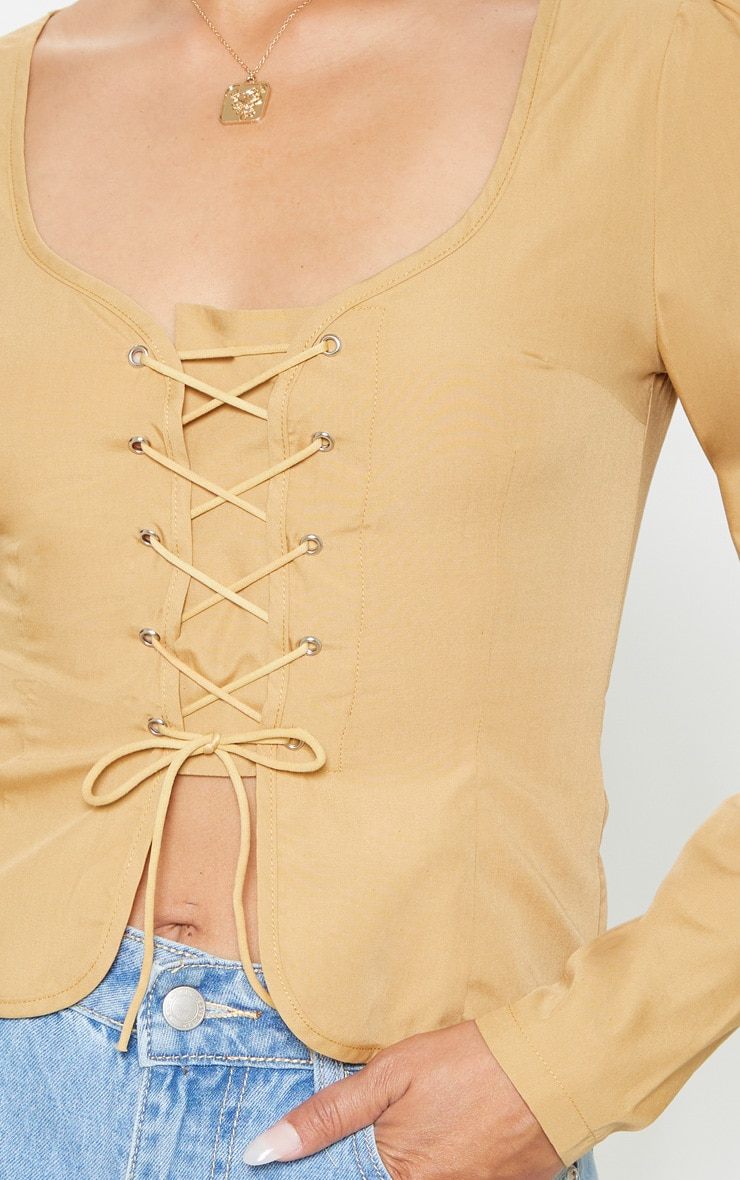 Stone Woven Lace Up Front Long Sleeve Blouse 5