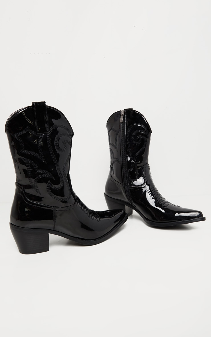 Black Patent Stitch Detail Western Calf Boot 3