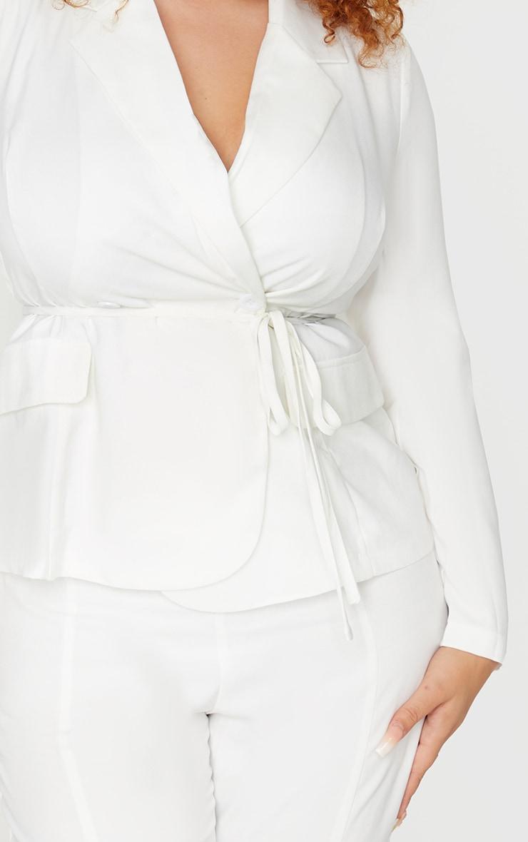 Plus White Woven Button Blazer 4