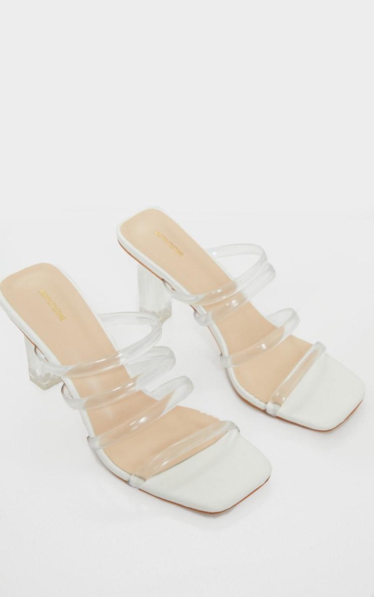 White Low Clear Block Heel Multi Clear Strap Mule 3