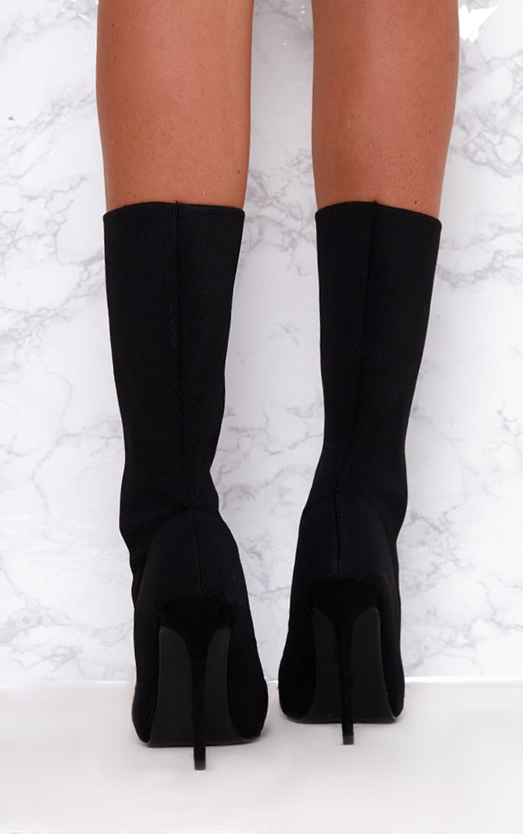 Black Knitted Pointy Sock Boots  4