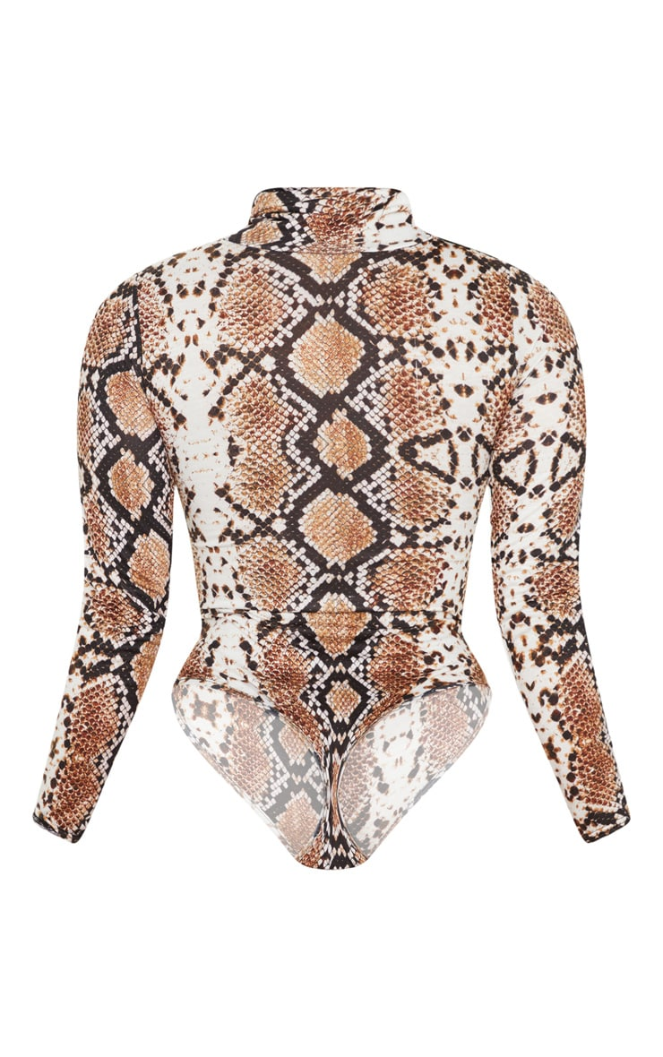 Tan Snake Print Roll Neck Long Sleeve Bodysuit 4