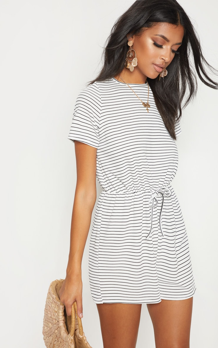 White Stripe Drawstring Waist Playsuit 1