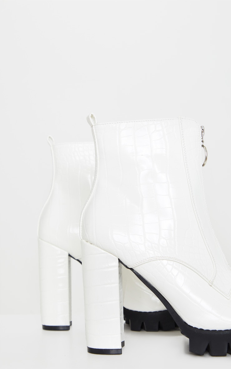 White Croc Extreme Block Heel Cleated Zip Front Ankle Boot 3