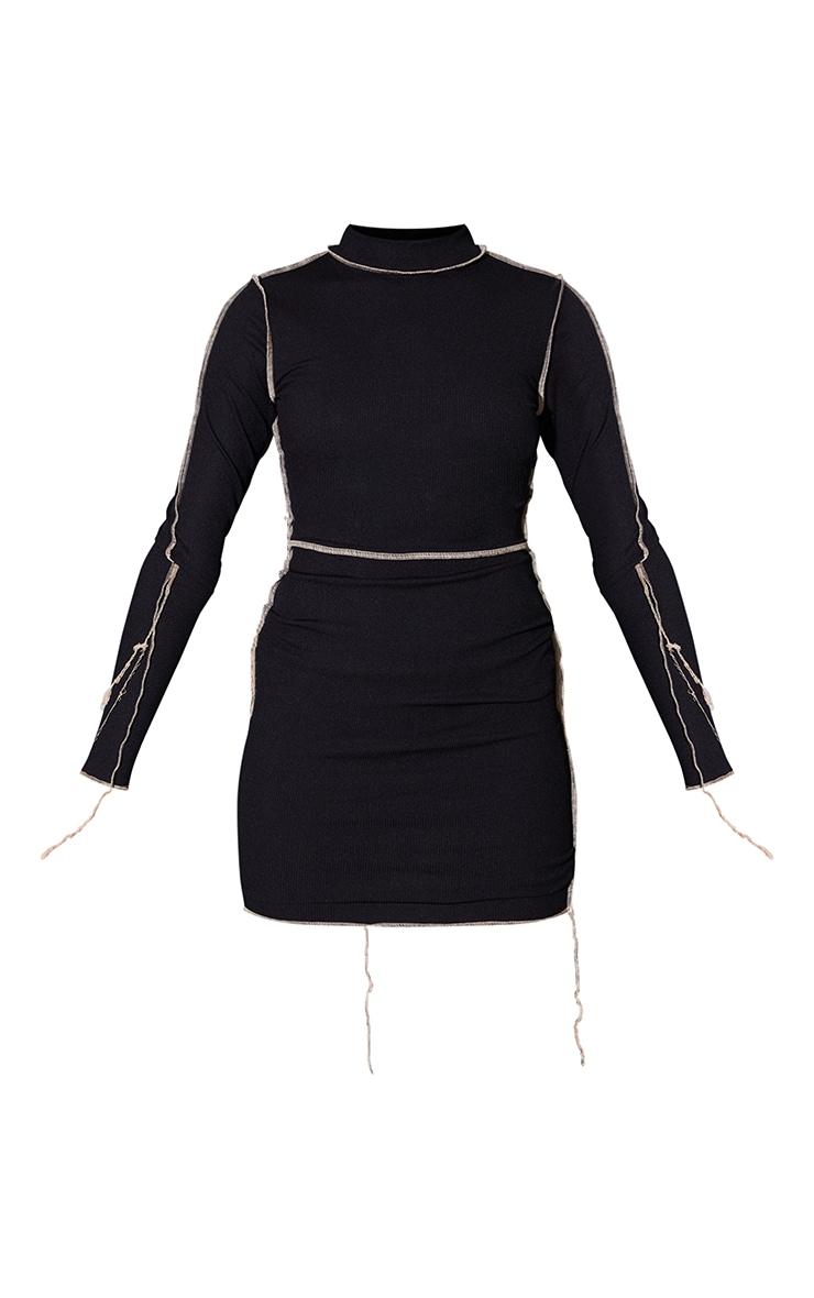 Black Ribbed Overlock Stitch High Neck Long Sleeve Bodycon Dress 5