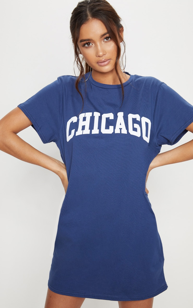 Chicago Navy Oversized T Shirt Dress 4
